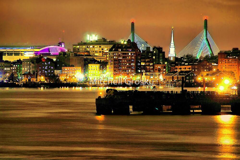 Golden Boston Skyline in December by Mitchell Grosky