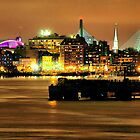 Golden Boston Skyline in December by Mitchell Grosky