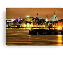 Golden Boston Skyline in December Canvas Print