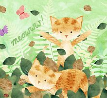 Foliage frolics - cats in leaves. by Hannah Chapman