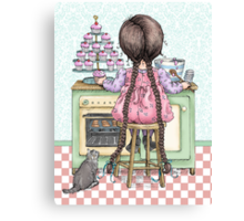 kitten and cupcakes Canvas Print