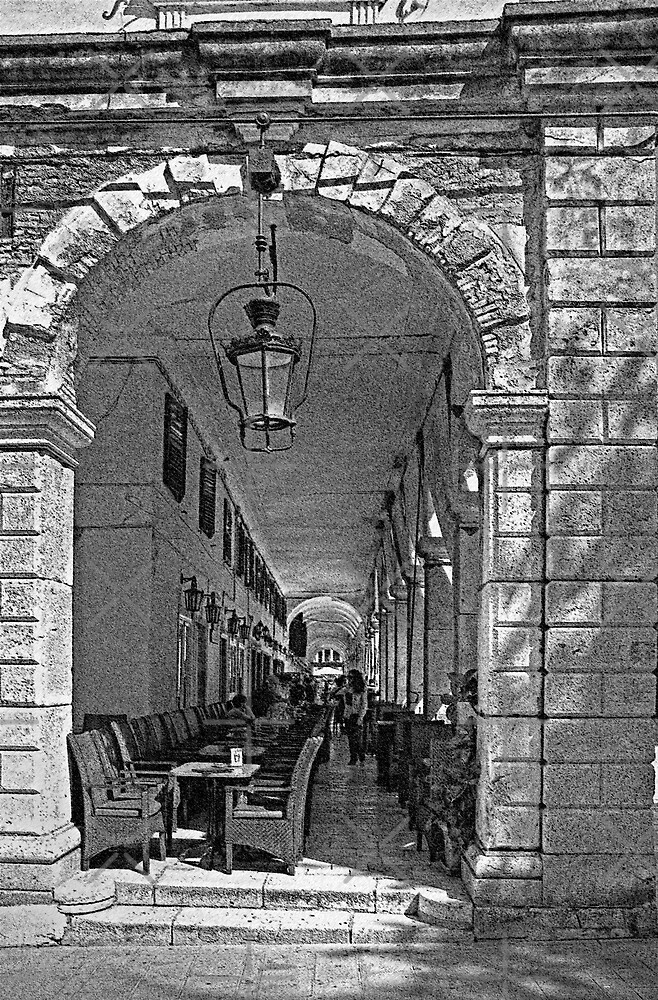 Under the Colonnade - B&W by Tom Gomez