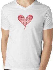 Pleated heart Mens V-Neck T-Shirt