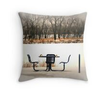 Having Tea In The Snow Throw Pillow