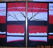 Black Red White and Tree 11x14 acrylic on canvas by boocifer