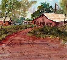Red Clay Farm - Watercolor by Barry  Jones