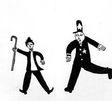 Charlie Chaplin Chased By A Policeman by Fotis