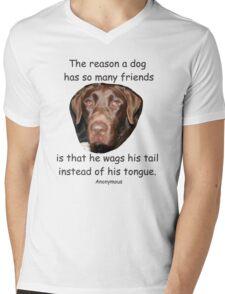 A Dog Has Friends Mens V-Neck T-Shirt