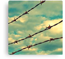 Barbed Wire, Blue Sky - Birmingham, Alabama Canvas Print