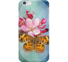 Pearl Crescent Butterfly on Crab Apple Blossom iPhone Case/Skin