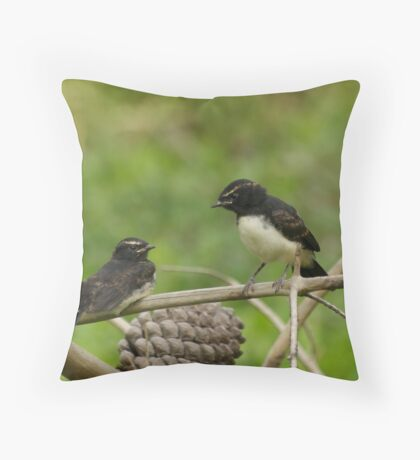 Willy Wagtail Fledglings Throw Pillow
