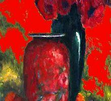 vases & flowers in red room by sharlesart