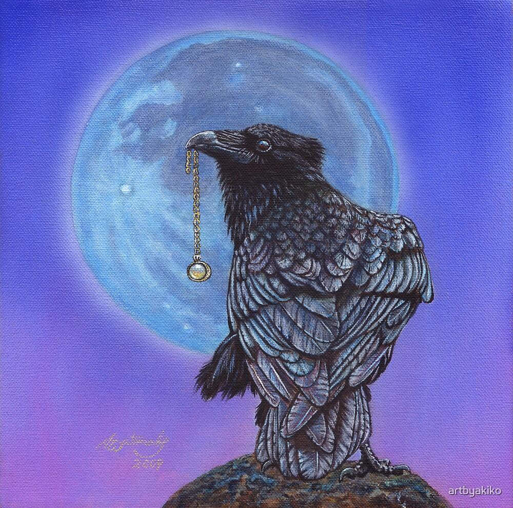 Treasure Seeker #20 (Crow Raven Painting) by artbyakiko