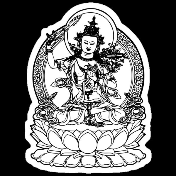 Buddha with Sword on Lotus t-shirt by buddhabubba
