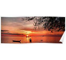 Koh Tao sunset after scuba diving  Poster