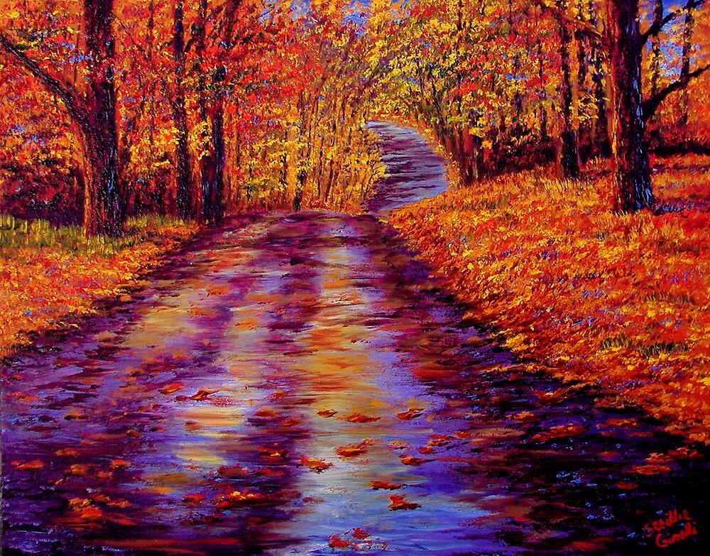 Connecticut Autumn Road by sesillie