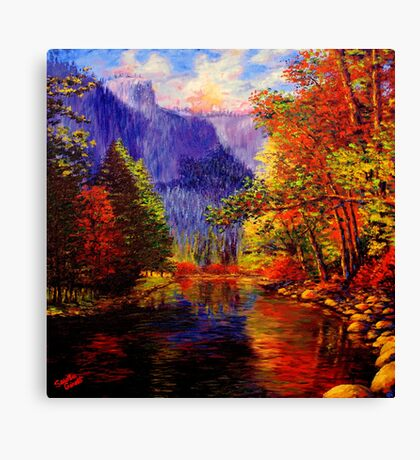 Yosemite River & Cliffs Canvas Print