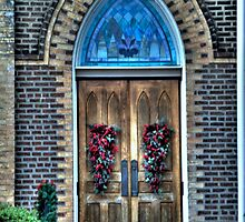Church Door Decorated for Christmas by Terence Russell