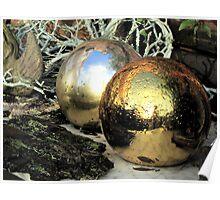 Christmas balls after rain Poster