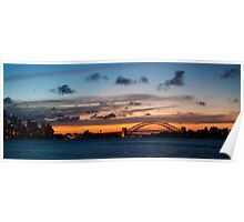Sunset Behind the Sydney Opera House and Harbour Bridge Poster