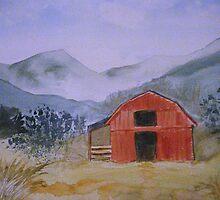 Smokey Mountain Barn Scene by JRobinWhitley