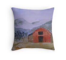 Smokey Mountain Barn Scene Throw Pillow