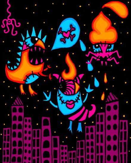 Monsters in the city by kandy skullz