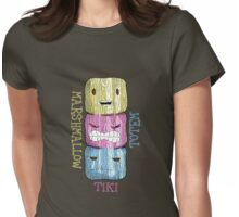 marshmallow tiki totem w/text...  Womens Fitted T-Shirt
