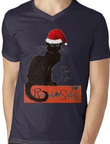 Le Chat Noel Mens V-Neck T-Shirt