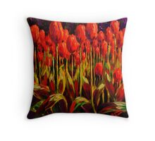 Red Tulips in the Light Throw Pillow