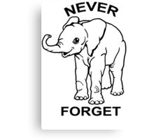 Baby Elephant Never Forget Funny TShirt Epic T-shirt Humor Tees Cool Tee Canvas Print