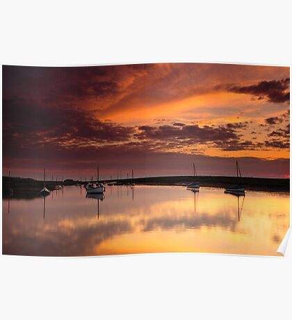 Red Sky Over Burnham Overy Poster