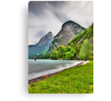 Surfing on a lake Canvas Print