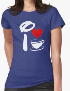 I Heart Tea Cups (Inverted)  Womens Fitted T-Shirt