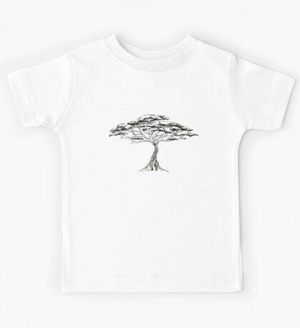 Whistling Thorn , Zen Bonsai African Tree Black and White Illustration Kids Tee