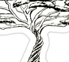 Whistling Thorn , Zen Bonsai African Tree Black and White Sticker