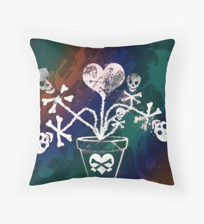 Skulls In A Vase Throw Pillow