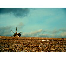 a mill is in the field of wheat Photographic Print