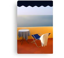 Balcony with a view. Morning Canvas Print