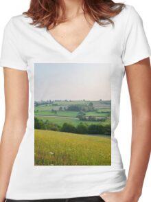 a desolate Belgium landscape Women's Fitted V-Neck T-Shirt