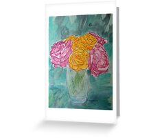 Pink & Yellow Roses Greeting Card