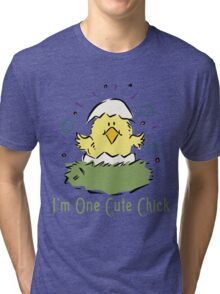 "Easter Chick ""I'm One Cute Chick"" Tri-blend T-Shirt"