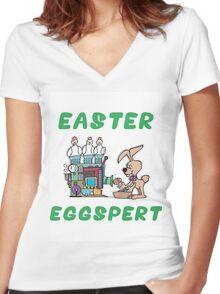 """Happy Easter """"Easter Eggspert"""" Women's Fitted V-Neck T-Shirt"""