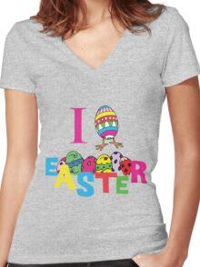 """Easter """"I Love Easter"""" Women's Fitted V-Neck T-Shirt"""