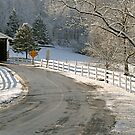 First Snow at Jackson's Mill Covered Bridge by Monte Morton