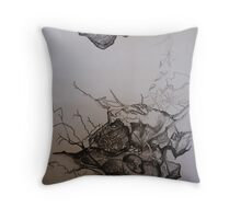 Landscape Study in Pencil.  Rocky Landscape, Throw Pillow