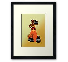 African Tribal Woman Carrying Pitchers Of Water Home Framed Print