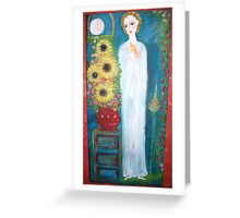 """""""Lady  saint with roses"""" Greeting Card"""