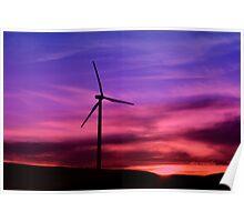 Sunset Windmill Poster