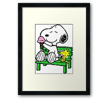 Snoopy and Woodstock Ice Cream Framed Print
